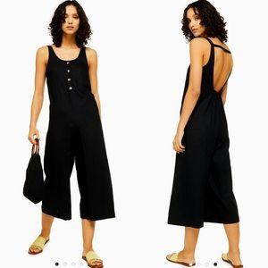 Topshop linen rich drop back wide leg jumpsuit